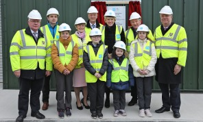 Brendan Smith TD, Padraig Hanley, Irish Water; Ava McKenna, Cathaoirelach Madeline Argue, Tommy Ryan, Chief Executive Cavan County Council; Darragh Farrelly, Minister Heather Humphreys, Shannon Farrelly, Cllr Clifford Kelly, Katie Rooney & Senator Joe O'Reilly pictured at the official opening of the Kingscourt Water Treatment Plant following a €4million investment by Irish Water. The plant was opened by Minister Humphreys and the children represented local school Muff National School. Photo: Lorraine Teevan